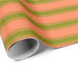 [ Thumbnail: Coral & Green Lines/Stripes Pattern Wrapping Paper ]
