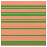 [ Thumbnail: Coral & Green Stripes Pattern Fabric ]