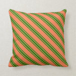 [ Thumbnail: Coral & Green Stripes Pattern Throw Pillow ]