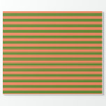 [ Thumbnail: Coral & Green Stripes Pattern Wrapping Paper ]
