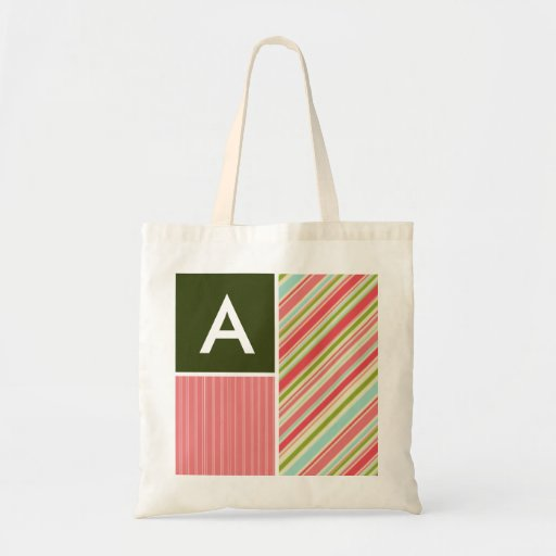 Coral & Green Stripes; Striped Bags