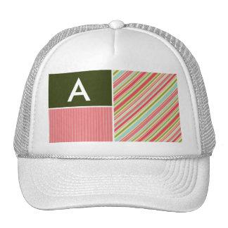 Coral & Green Stripes; Striped Mesh Hats