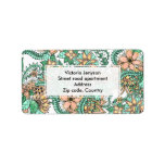 Coral green watercolor hand drawn floral pattern label