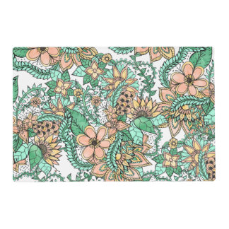 Coral green watercolor hand drawn floral pattern placemat