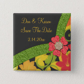 Coral Green & Yellow Flowering Garden Save Date Button