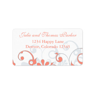 Coral Grey Abstract Floral Wedding Return Address Label