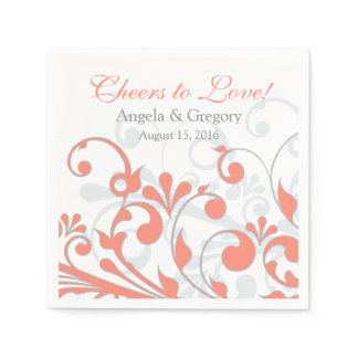 Coral Grey Abtract Floral Personalized Wedding Paper Napkin