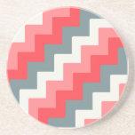 Coral, Grey, and White Block Chevron Zigzag Drink Coaster