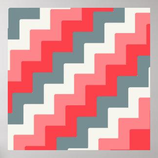 Coral, Grey, and White Block Chevron Zigzag Poster