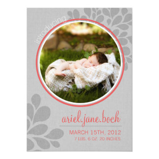 """Coral & Grey   Baby Girl Announcement 5.5"""" X 7.5"""" Invitation Card"""