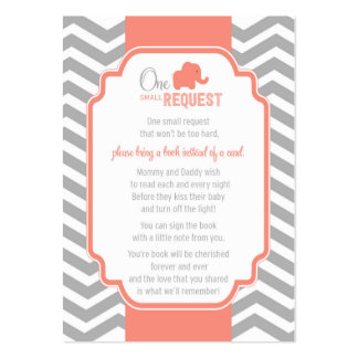 Coral Grey Chevron Baby Shower Book Request Card Business Cards