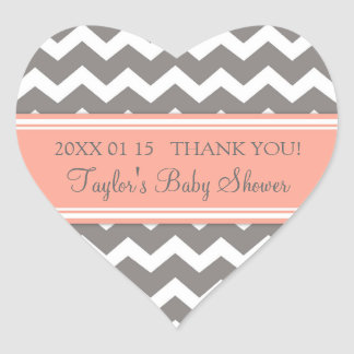 Coral Grey Chevron Baby Shower Favor Stickers
