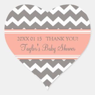 Coral Grey Chevron Baby Shower Favor Stickers
