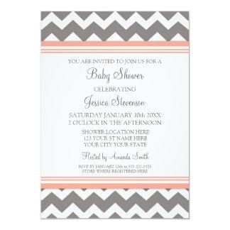 "Coral Grey Chevron Custom Baby Shower Invitations 5"" X 7"" Invitation Card"