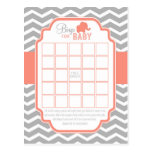 Coral Grey Chevron Elephant Bingo Baby Shower Game Post Card