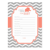 Coral Grey Chevron Elephant Wishes for Baby Card