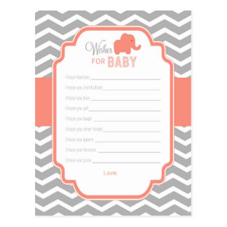 Coral Grey Chevron Elephant Wishes for Baby Card Postcard