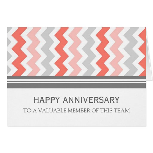 Coral Grey Chevron Employee Anniversary Card