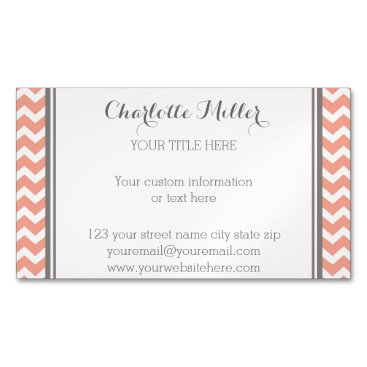 Professional Business Coral Grey Chevron Magnetic Business Card