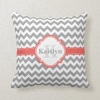 Coral Grey Chevron Pattern & Moroccan Quatrefoil Pillows