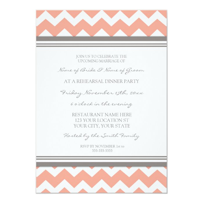 Coral Grey Chevron Rehearsal Dinner Party Card