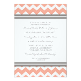 Coral Grey Chevron Rehearsal Dinner Party 5x7 Paper Invitation Card