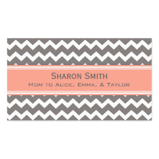 Coral Grey Chevron Retro Mom Calling Cards Double-Sided Standard Business Cards (Pack Of 100)
