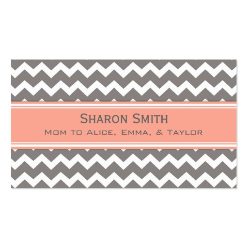 Coral Grey Chevron Retro Mom Calling Cards Business Cards