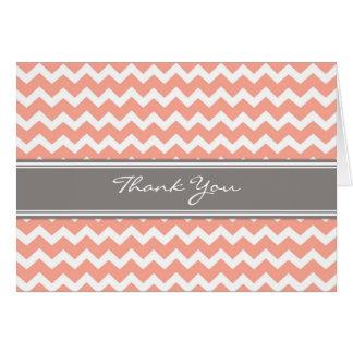 Coral Grey Chevron Wedding Thank You Card