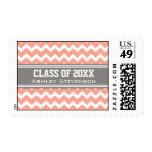 Coral Grey Chevrons Graduation Custom Name Stamps