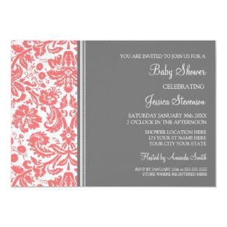 "Coral Grey Damask Custom Baby Shower Invitations 5"" X 7"" Invitation Card"