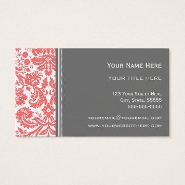 Professional Business Coral Grey Damask Floral Business Cards