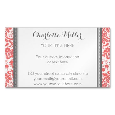 Professional Business Coral Grey Damask Magnetic Business Card