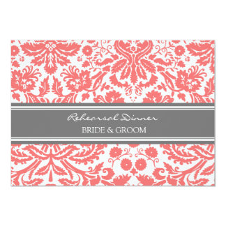 Coral Grey Damask Rehearsal Dinner Party 5x7 Paper Invitation Card
