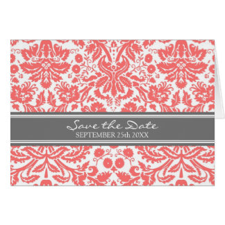 Coral Grey Damask Save the Date Announcement