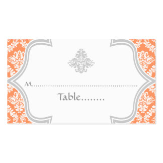 Coral, grey damask wedding place card Double-Sided standard business cards (Pack of 100)