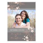 Coral Grey Floral Photo Wedding Invitation Cards