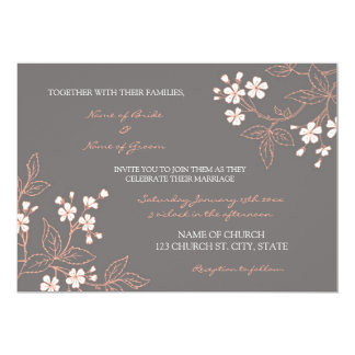 coral grey floral wedding invitation cards - Coral And Grey Wedding Invitations