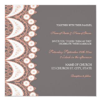 coral grey lace pattern wedding invitation cards - Coral And Grey Wedding Invitations