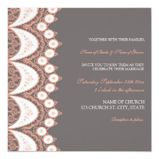 Coral Grey Lace Pattern Wedding Invitation Cards