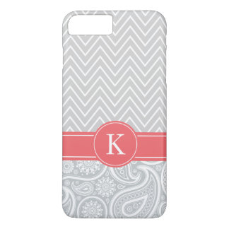 Coral Grey Monogram Chevron Paisley Pattern iPhone 8 Plus/7 Plus Case