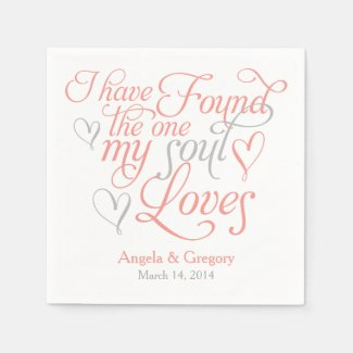 Coral Grey My Soul Loves Heart Wedding Napkin