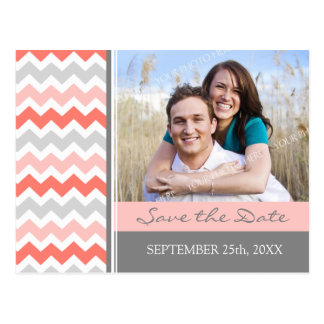 Coral Grey Photo Save the Date Wedding Postcards