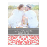 Coral Grey Photo Wedding Save the Date Card