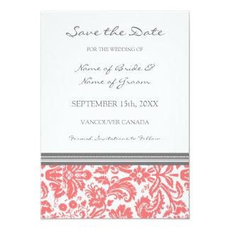 "Coral Grey Photo Wedding Save the Date Card 5"" X 7"" Invitation Card"