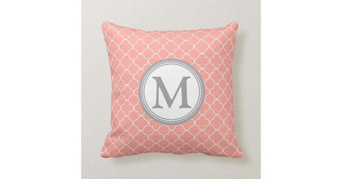 Coral Grey Quatrefoil Monogram Decorative Pillow Zazzle