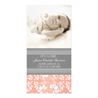 Coral Grey Template New Baby Birth Announcement Photo Card