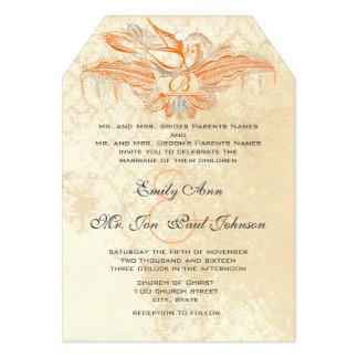 Coral & Grey Vintage Flourish Bird Wedding Invite