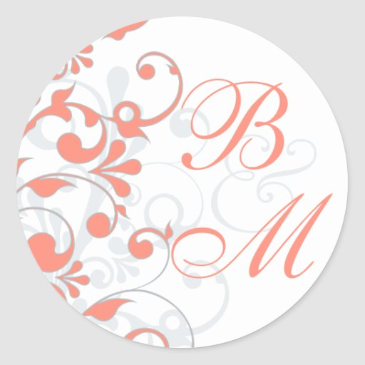 Coral, Grey, White Abstract Floral Envelope Seal Classic Round Sticker