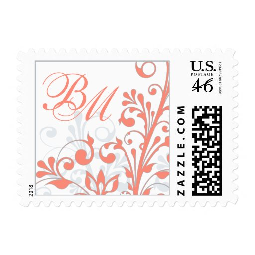 Coral, Grey, White Abstract Floral Wedding Postage